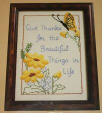 Give Thanks For the Beautiful Things in Life Embroidery kit 5x7 butterfly flower