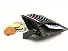 Negro de Cuero Genuino Premium Titular de tarjeta de crédito Con Cremallera Moneda Bolsa Monedero Billetera
