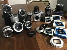 Beseler Topcon Super D 35mm Film Camera w/ Many RE Lenses UV Lenses And Accs. !!