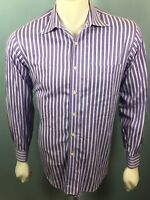 Men's Paul Fredrick Medium 120's 2 Ply Cotton Blue Purple Striped L/S Shirt