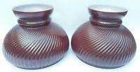 """Vintage Lamp Shade Aladdin Burgundy Ribbed Cased Glass Oil Kerosene Student 7"""""""