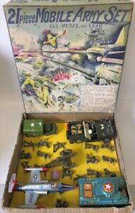 ULTRA RARE Vintage 1950s JAPAN Tin & Cast Metal 21-Piece MOBILE ARMY SET in Box!