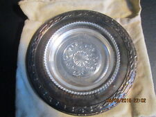 Meadowbrook Wm A. Rogers silver plate and glass dish with storage pouch