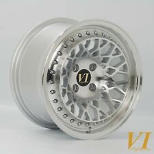 "4 x ViP Infinity Silver 15"" x 8.25"" 4x100 ET15 alloys fit MX5 VW Golf Civic E30"