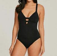 $369 Seafolly Women Black Active Plunging Long Fit Strappy One-Piece Swimsuit 10