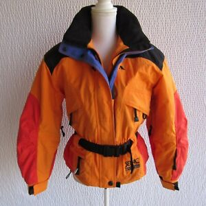 Vintage Serac Ski Jacket Womens S Small Colorblock Color Block Coral Orange Hood