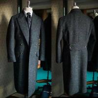 Dark Gray Men's Tweed Long Overcoat Wool Peak Lapel Suits Double Breasted Custom