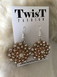 New Rose Gold Earrings Silver Diamante Drop 1920s Gatsby Costume Jewellery