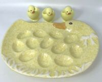 "Deviled Egg Tray Serving Plate Platter Duck Set Easter 12x 9"" Vintage USA"