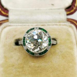Vintage Art Deco Engagement Wedding Antique Ring 14K White Gold Over 2Ct Diamond