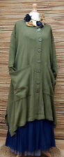 "LAGENLOOK COTTON MIX OVERSIZE CARDIGAN/COAT*GREEN*BUST UP TO 60""OSFA XL-XXL-XXXL"
