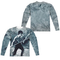 BRUCE LEE WHOOOAA Adult Men's Long Sleeve Sublimated Tee Shirt F/B SM-3XL