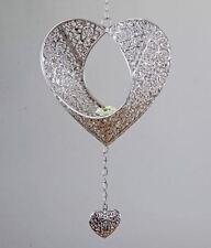 658067 Hänger Herz Prado Silber aus Metall mit Teelicht Einsatz Artikel 22cm