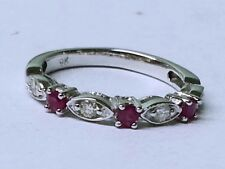 s R103- Genuine Solid 9K White Gold NATURAL DIAMOND & Ruby Eternity Ring size J