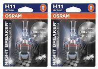 COPPIA LAMPADE LAMPADINE OSRAM NIGHT BREAKER UNLIMITED +110% 12V H11 55W