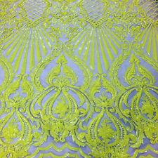 Yellow Sequins/Nude Mesh Way Stretch Sequin Fabric Spandex Mesh Prom-Gown 1 Yard