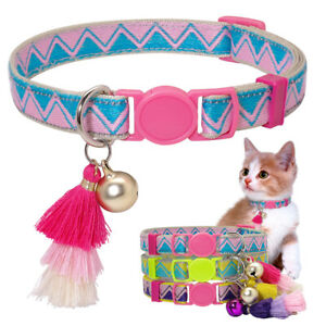 Pet Breakaway Collar Quick Release Buckle with Bell Tassel Safety for Kitten Cat
