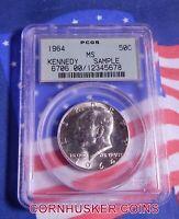 1964 Kennedy Silver Half Dollar PCGS MS in (OGH) Sample Slab ~ Blast White Gem!