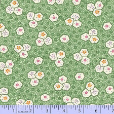 Fabric Marcus Aunt Grace 30s Repro small hexagons green 6271-0314 Bthy