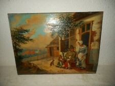 19th century oil painting,{ P. Braak 1853, Family scene with childeren playing}.
