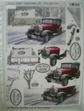 Beautiful Craft Creations Die Cut Decoupage 'Snowy Car Scene' (205) M