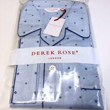 Mens Pyjamas 2xl Derek Rose Blue Classic Fit Luxury Cotton Pyjama Set