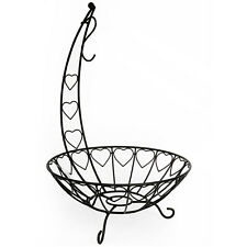 Fruit Vegetable Black Wire Bowl Basket Banana Hanger Rack Stand Storage Holder