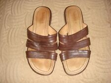 TIMBERLAND LEATHER UPPER/LINING BROWN SLIDES - SIZE 7 - INSOLE 24CM