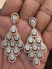 5.75 Cts Round Brilliant Cut Pave Diamonds Chandelier Earrings In Fine 14K Gold