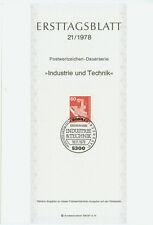 BRD ETB Ersttagsblatt 1978 Industrie und Technik Mi.Nr. 990