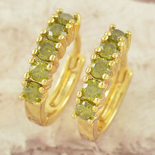SMALL 9K GOLD GF SOLID HUGGIE MADE WITH GREEN PERIDOT CRYSTAL WOMENS EARRINGS