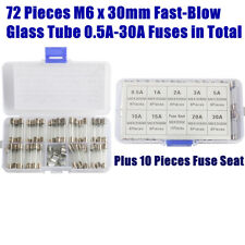 72 Pieces M6 x 30mm Fast-Blow Glass 0.5A-30A Fuses Assortment Kit