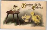 Postcard~ Greetings For The Eastertide~ Chicks Playing~ c521
