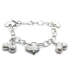 18K Solid White Gold Diamond Cut Hearts And Cherry Charm Bracelet 7.60 Grams