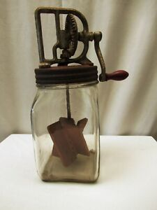 Antique Butter Churn Glass Bottle Jar With Original Wooden Paddles Collectibles""