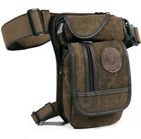 Men Motorcycle Rider Canvas Drop Leg Bag Tactical Military Belt Waist Fanny Pack