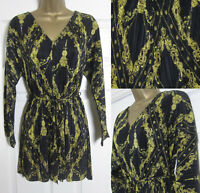 NEW £40 River Island Plisse Playsuit Black Gold Chain Print Party Evening 4-16