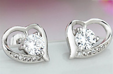 Earrings 9ct White Gold GF Diamond Cluster Heart Studs Gift Summer Christmas