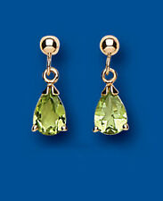 Unique Wishlist 9ct Yellow Gold Peridot Simple Pear Drops AP2144
