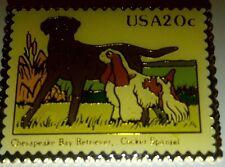 Chesapeake Bay Retriever & Spaniel .20 Postage Stamp Pin Mint Extra Rare Collect