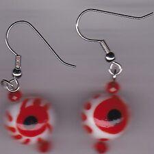 Halloween Earrings - Eyeballs Blood Shot -Lampworks  - Creepy - Gorey