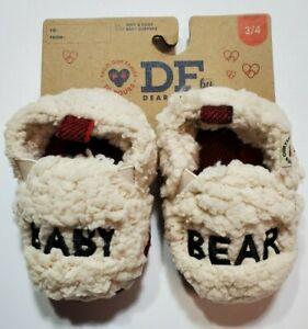 Dearfoams Baby Bear Memory Foam Slippers Toddler 5/6 Sherpa Beige Red Plaid NWT