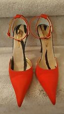 Giuseppe Zanotti Red Satin/Black Glossy Heel, Ankle Strap, NEW 38.5
