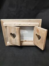 Driftwood Photo Frame with Heart Shutters - a unique style!