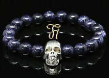 Turquoise Gemstones Blue 8mm Bracelet Pearl Bracelet Silver-Coloured Skull