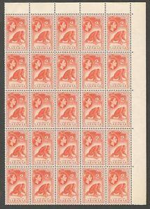 AOP Malaya SARAWAK QEII 1955-59 2c A Young Orang-Utan block of 25 MNH SG 189