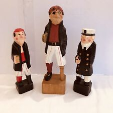 Vintage Wood Carved Nautical Captain Pirate Figuers Lot of 3 f
