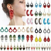 NEW Handmade Crystal Beaded Earrings Women Ring Tassel Drop Dangle Ear Stud Hoop