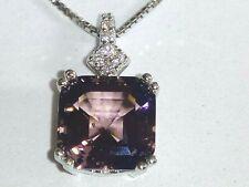 925 STERLING SILVER MORGANITE & LAB DIAMONDS PENDANT NECKLACE INCL SF CHAIN