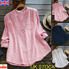 UK Womens Long Sleeve Button Blouse Plain Ladies Casual T-shirt Tops Size 12-26
